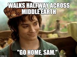 Meme Sam - walks halfway across middle earth go home sam meme