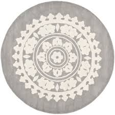 Overstock Rugs Round Safavieh Handmade Soho Chrono Grey Ivory New Zealand Wool Rug 6