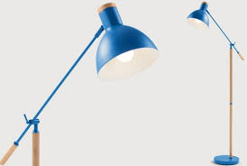 cohen floor lamp in memphis blue and natural oak absolute home