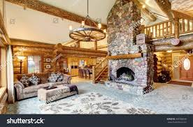 Log Home Interior Photos Bright Living Room Interior American Log Stock Photo 459758236
