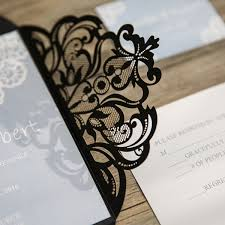 and black wedding invitations pastel blue lace black laser cut wedding invitations