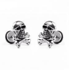 skull stud earrings 1 pcs stainless steel skull stud earrings for men women hip