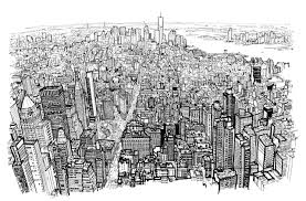 time lapse video showing a drawing of the lower manhattan skyline