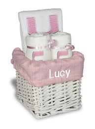 personalized miami hurricanes pink small gift basket um baby gift
