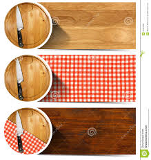 Set Of Kitchen Knives Set Of Kitchen Banners With Cutting Board Stock Illustration