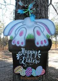 Wooden Easter Door Decorations by Easter Door Hangers Easter Bunny Door Hanger 3d Rabbit