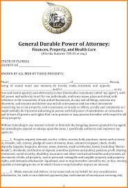 Medical Power Of Attorney Form California by 10 Durable Power Of Attorney Form Florida Attorney Letterheads