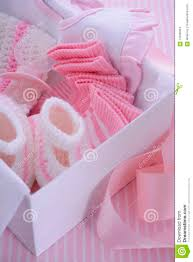 its a pink theme baby shower gift box stock photo image