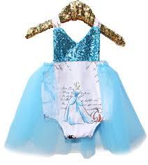 Toddler Princess Halloween Costumes Princess Story Blue Sparkle Tutu Romper Baby Toddler