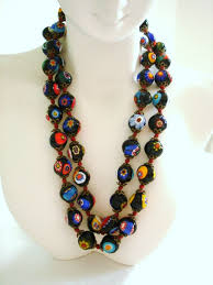vintage beads necklace images Vintage 1960s italian mille fiore beaded necklace with jpg