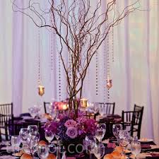 Wedding Tree Centerpieces Purple Tree Wedding Centerpiece With Beautiful Flowers And Votive