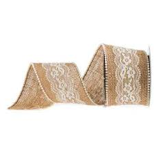 burlap ribbon 2 1 2 burlap ribbon with lace pearls hobby lobby