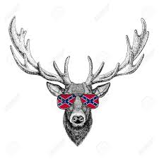 Flag Confederate States Of America Deer Wearing Glasses With National Flag Of The Confederate States