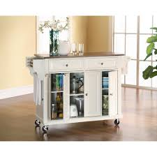 Sunjoy Greenwich White Body With Wood Top Kitchen Cart With - Kitchen furniture storage cabinets