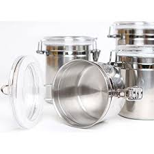 snagshout 5 piece stainless steel canister set w clamp lids