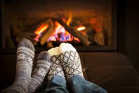 cozy winter fireplace knitted socks desktop wallpaper