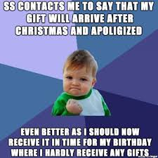 Christmas Birthday Meme - not quite sure what the equivalent is for secret santa when changed