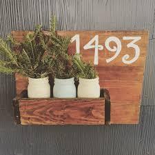 wood plant holder house number sign house number plant holder