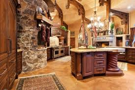 antique wooden floor with stone wall decor for traditional