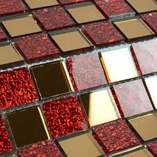 Red Tile Backsplash - red glass tiles for backsplash red glass mosaic tiles crackle