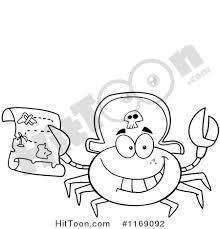 crab clipart 1169092 happy black white pirate crab holding