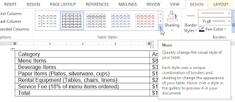 Change Table Style Word Word 2013 Tables Page