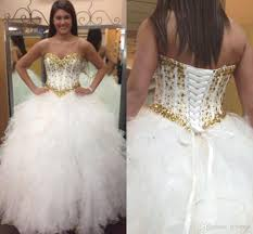 gold quince dresses 2017 gold rhinestones white quinceanera dresses ruffles sweetheart