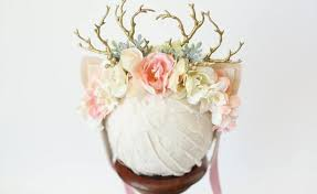fawn headband baby deer with flower crown gardening flower and vegetables