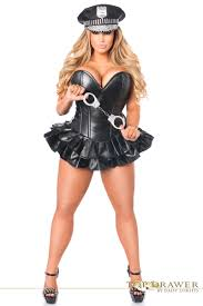 police costume for halloween plus size black faux leather corset police costume