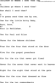 christian childrens song children go where i send thee lyrics and