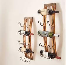 5 bottle wall hanging wine rack storage holder wood metal rustic