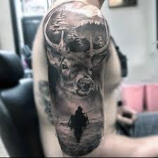 badass deer wilderness outdoor half sleeve guys tattoos
