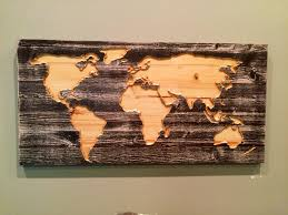 World Map Decal by Carved Wooden World Map Wall Art World Map Home Decor World