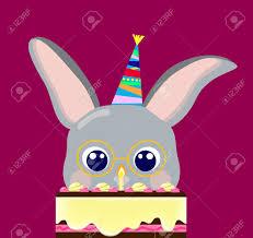 rabbit birthday happy birthday grey rabbit and cake vector illustration