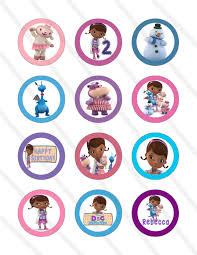 doc mcstuffins cupcake toppers disney doc mcstuffins custom birthday party 2 inch cupcake toppers