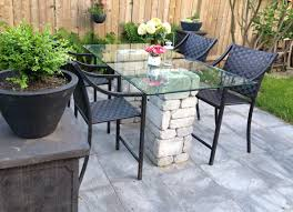 Patio Table Glass Leisbeth Made This Gorgeous Patio Dining Table Using Paver Stones