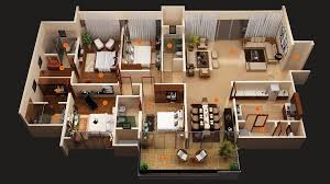 Open Floor Plans For Houses by Bedrooms 2 Bedroom House 3d Plans Open Floor Plan And Building