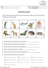 primaryleap co uk identifying animals worksheet