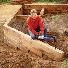 build a wood timber retaining wall diy outdoor retreats