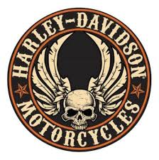harley davidson embossed flying skull button tin sign 14