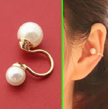 ear cuff piercing pearls ear bone ear cuff reversible single no piercing