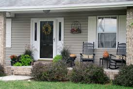 exterior gorgeous image of front porch decoration using dark brown