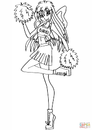 winx club cheerleader fairy coloring page free printable