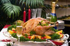 Turkey On The Table Christmas Turkey On Holiday Table Stock Photo Image 1549090