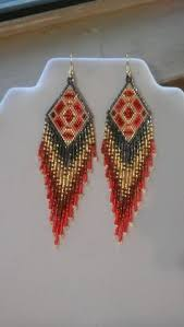 Ruby Red Long Brick Stitch Long Indian Style Beads Earrings Tribal Style Boho Style