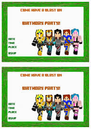 minecraft birthday invitations u2013 birthday printable