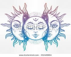 beautiful moon sun faces sun broken stock vector 552489664