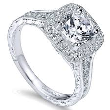 milgrain engagement ring 14k white gold halo channel and milgrain 14k white gold