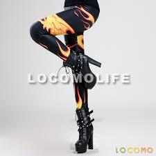 women black fire flame dragon print pattern legging fft144 us