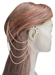hair cuff gold women chains spikes ear cuff hair pin headband claw earrings